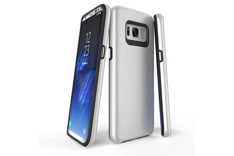 For Samsung Galaxy S8 Case  Silver Armour Protective Durable Slim Phone Cover