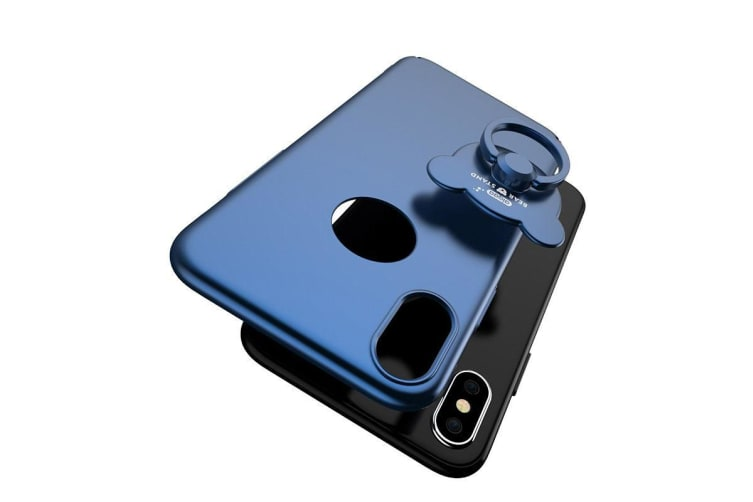 For iPhone XS X Case Modern Solid Metal Paint Durable Shielding Cover Dark Blue