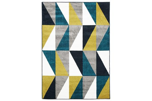 Indoor Outdoor Mica Rug Blue Citrus Grey 330x240cm