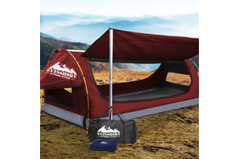 Weisshorn King Single Camping Swags Canvas Free Standing Dome Tent Bag Red