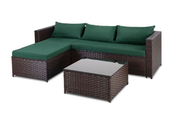 Ovela Bodrum 3 Piece Wicker Sofa Set (Dark Brown)