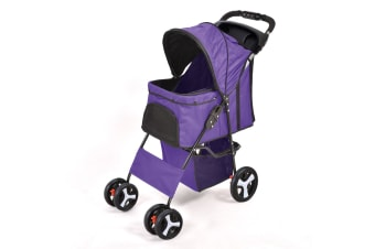 PawZ 4 Wheels Pet Stroller Dog Cat Cage Puppy Pushchair Travel Walk Carrier Pram Purple