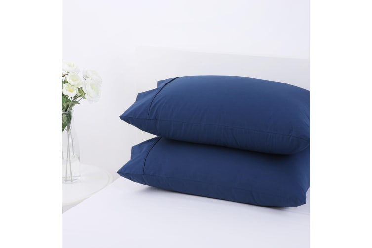 Dreamaker 250TC Plain Dyed Standard Pillowcases - Twin Pack -48X73cm Insignia Blue