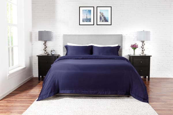 Ovela 400TC Cotton Rich Luxury Quilt Cover Set (Queen, Midnight Blue)