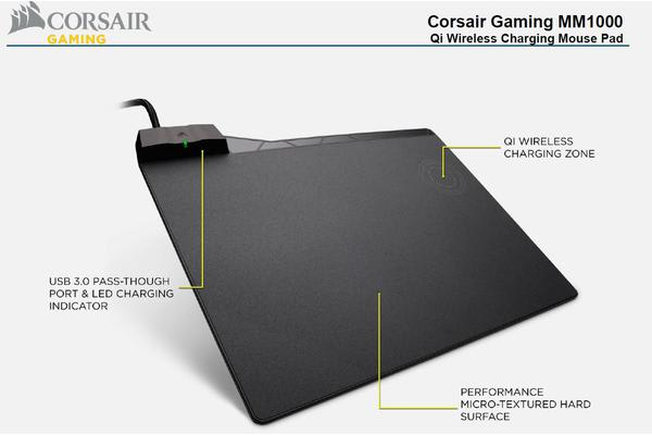 Corsair MM1000 Qi Wireless Charging Mouse Pad, USB 3.0 Pass-Through, LED Charging Indicator, Micro-Textured Hard Surface