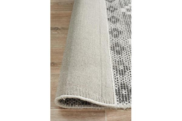 Lydia Charcoal Grey & Natural White Hand Woven Vintage Look Rug 225x155cm
