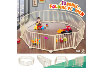 Foldable 10 Panel Kids Playpen Safety Fence New Zealand pine Wood