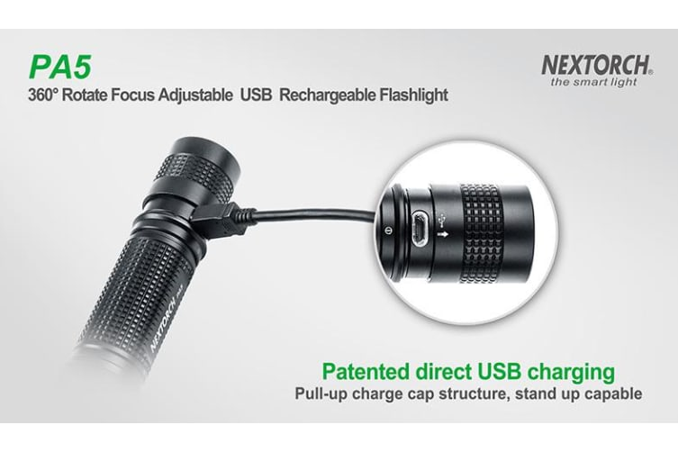 Nextorch  PA5 Rechargeable Focusing Flashlight Torch 660lm
