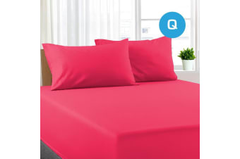 Queen Size Hot Pink Color Poly Cotton Fitted Sheet + Pillowcase