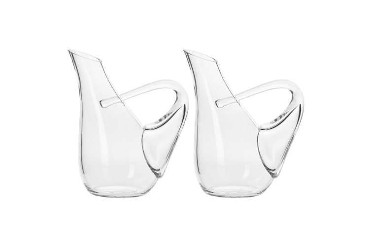 2x Krosno Connoisseur 1L Swan Liquor Wine Drinks Carafe Decanter Jug Glass