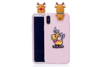 For iPhone XR Case Pink 3D Paster Elk Pattern Protective Cover