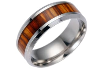 Men'S Unique Wood Pattern Center Stainless Steel Band Ring 11