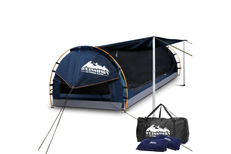 Double Swag Camping Swags Canvas Free Standing Dome Tent Bag Navy