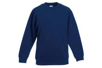 Fruit Of The Loom Childrens Unisex Raglan Sleeve Sweatshirt (Pack of 2) (Navy) (14-15)