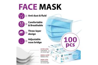 100Pcs Disposable Face Mask Protective Masks 3 layer Meltblown Filter for General Use