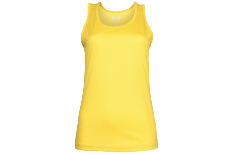 Just Cool Girlie Fit Sports Ladies Vest / Tank Top (Sun Yellow) (XL)