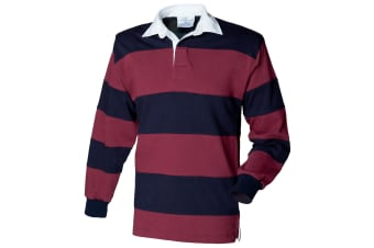 Front Row Sewn Stripe Long Sleeve Sports Rugby Polo Shirt (Burgundy/Navy)