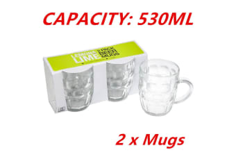 2 x 530ml Glass Beer Mugs 530ML Mug with Handle Bar Drinks Party Event Wedding WMCC
