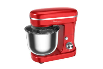 Healthy Choice Electric 1200W Mix Master 5L Stand Mixer w/Bowl/Whisk/Beater Red