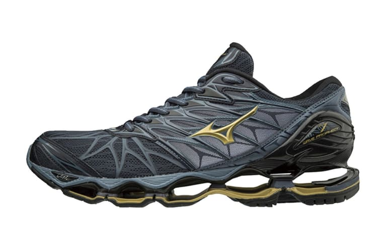 Mizuno Men's WAVE PROPHECY 7 Running Shoe (Ombre Blue/Gold/Black, Size 9.5 US)