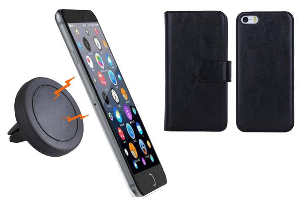 Magnetic Quick Snap Car Air Vent Mount Leather Card Case Iphone 6 / 6 Plus