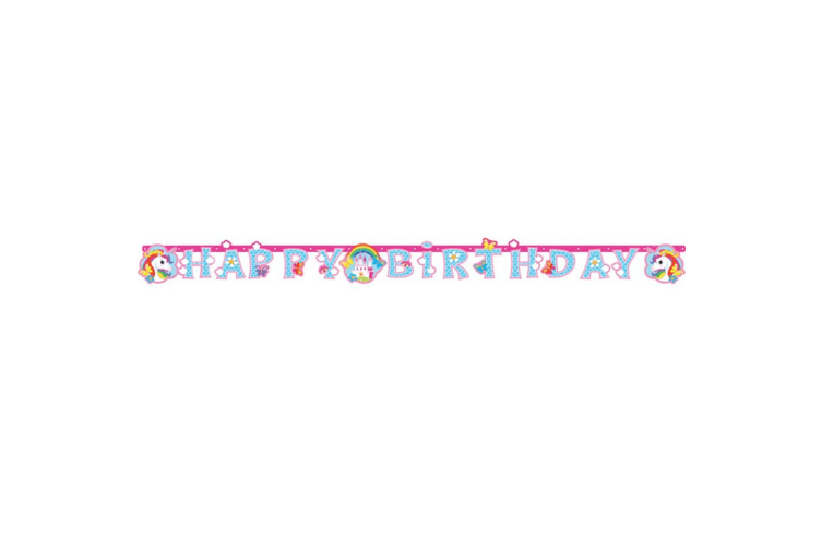 Amscan Happy Birthday Unicorn Banner (Pink) (W 1.8m x H 15cm / W 70in x H 6in.)