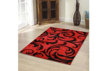 Stunning Thick Damask Rug Red