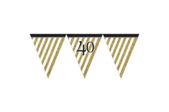 Creative Party Black And Gold Milestone Paper Flag Bunting (Black/Gold)