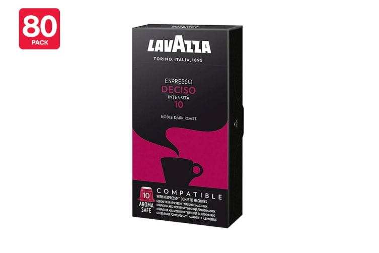 Lavazza Nespresso Compatible Deciso Coffee Capsules - 80 Pack (8 Packs of 10)