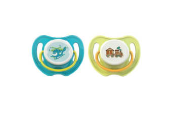 Pigeon Calming Baby Dummy Soother/Pacifier Twin Helicopter/Train Large 6+ Months