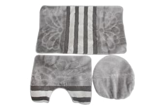 3 Piece Stripe & Flower Pattern Design Bath  Pedestal And Toilet Seat Cover Bathroom Mat Set (Silver) (60cm x 100cm)