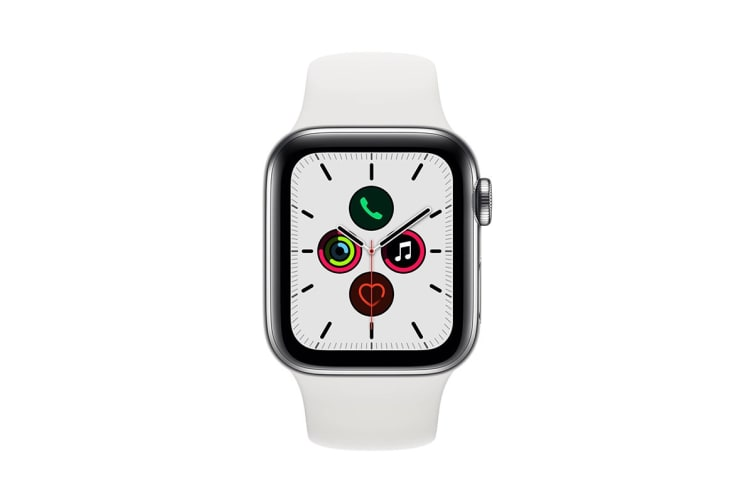 Apple Watch Series 5 (Stainless Steel, 40mm, White Sport Band, Cellular)