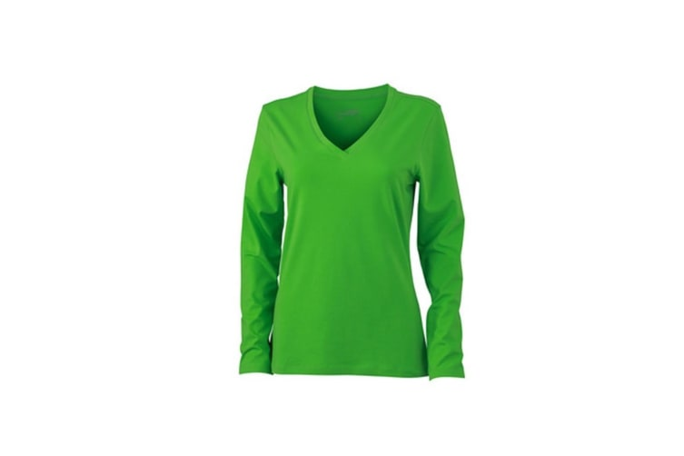 James and Nicholson Womens/Ladies Stretch V-Neck Long-Sleeved Shirt (Lime Green) (M)