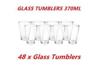 48 x 370ml Clear Glass Tumblers Drinking Cup Scotch Whisky Glasses Party Event