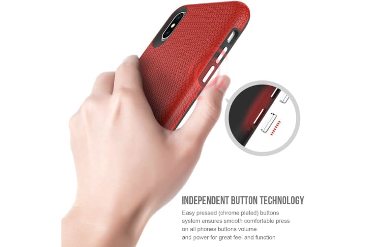 For iPhone XS & X Case  Armor Red Slim Shockproof Protective Phone Cover