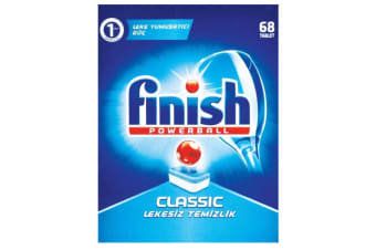 68PK Finish Tabs Classic Powerball Tablets for Dishwasher Dishwashing Detergent
