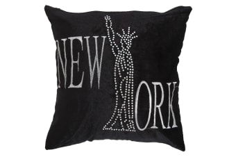 Panache New York Sparkle Design Cushion Cover (Cushion Pad Not Included) (Black)