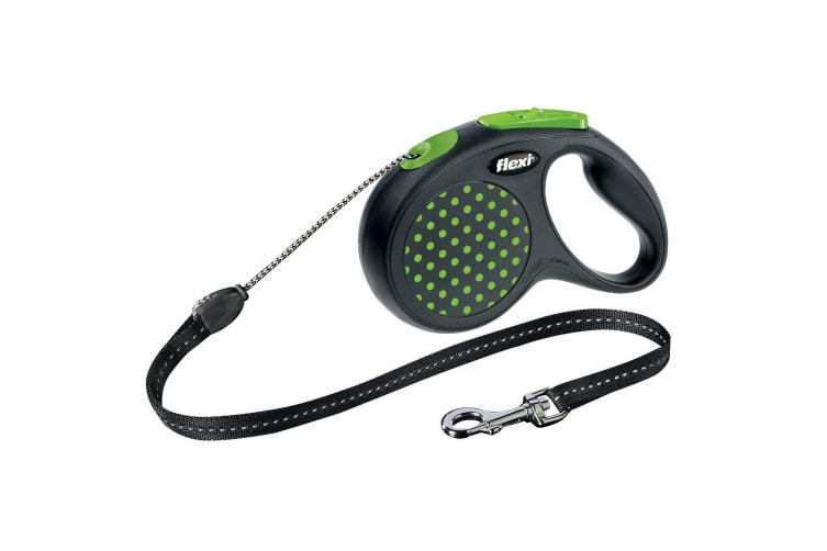 Bogdahn International Flexi Design Retractable Cord Dog Lead (Green Dot) (5m)