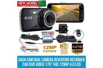 Elinz Dash Cam Dual Camera Reversing Recorder Car DVR Video 170deg FHD 1296P 4.0 LCD