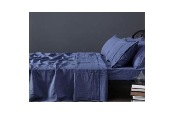 100% Linen Indigo Sheet Set KING