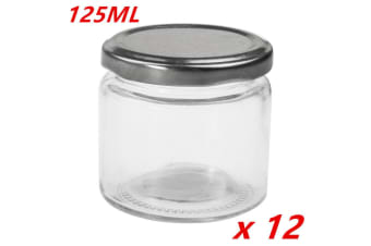 12 x Small Round Glass Jars 125ml Lid Lolly Honey Spice Canister Conserve Jar Bulk