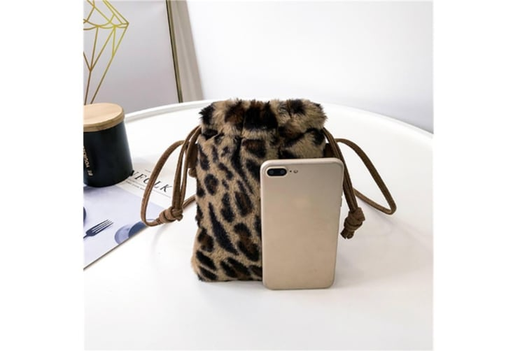 Women Leopard Print Crossbody Bag Fashion Plush Drawstring Shoulder Bags Light Brown