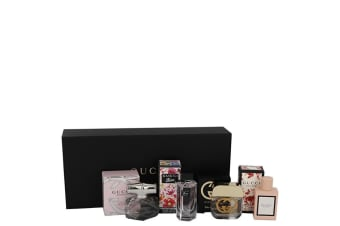 Gucci Gucci Guilty Gift Set - Gucci Travel Set Includes . Mini Eau De Parfum Gucci Bamboo, . Mini Eau De Toilette Gucci Guilty,. Mini Eau De Toilette Flora Gorgeous Gardenia and. Min Eau De Parfum Gucci Bloom