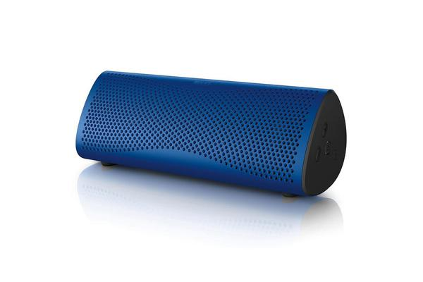 "KEF MUO Wireless Portable Speaker.  Bluetooth aptX. Miniaturised Uni-Q. NFC. 3.5mm AUX. 2 x 2"" blue"