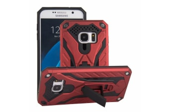 For Samsung Galaxy S7 Case  Armour Strong Shockproof Tough Cover Kickstand  Red