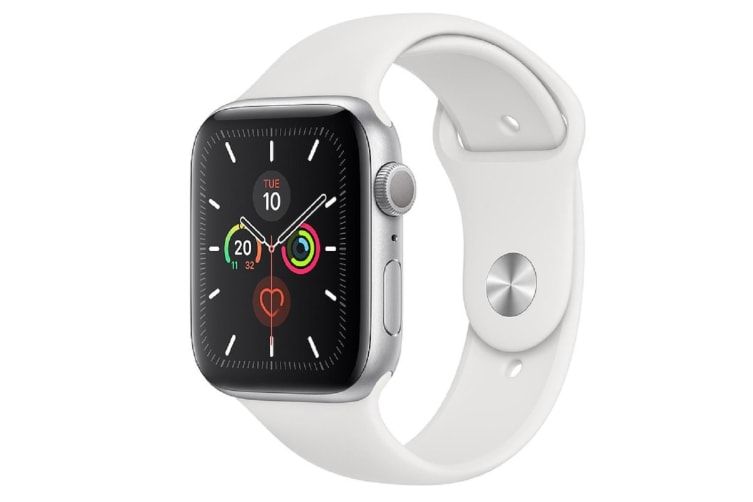 Apple Watch Series 5 (GPS) 44mm Silver Aluminum Case White Sport Band MWVD2