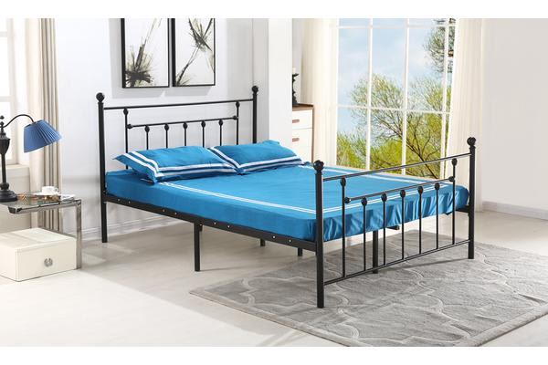 New King Black Stylish Metal Bed Frame