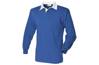 Front Row Long Sleeve Classic Rugby Polo Shirt (Royal/White)