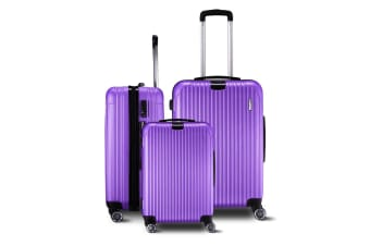 3 Piece Travel Carry On Luggage Suitcase Lightweight Trolley Set - Purple