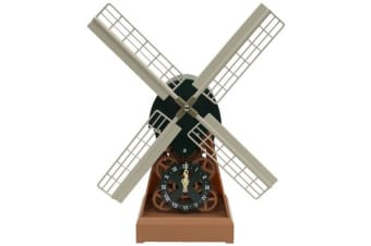 Dutch Windmill Mechanical Moving Gear Desk Clock Analog Dial Battery Power